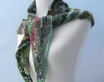 Hand crochet pink and green shawl