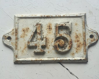 Vintage Cast Iton French Number '45' *Free Shipping*