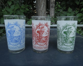 "Vintage Federal Wisconsin Dells Drinking Glasses Frosted Blue Green Red American Indian Motif 4 3/4"" Tall Souvenir Set of Three"
