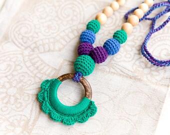 Coconut ring nursing pendant -  Sling Accessory - breastfeeding necklace - nursing necklace -  babywearing
