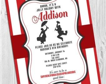 Mary Poppins - Jolly Holiday Birthday Party Invitation