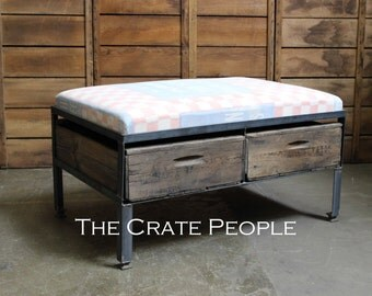 Reclaimed Ottoman | Fatena Checkers Feed Sack | Custom Made Crate Furniture : Customize your Fabric Top!