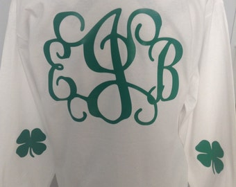 Long Sleeve St Patrick's Day Monogram Tee Shirt - Front and Back Monogram Included #249312