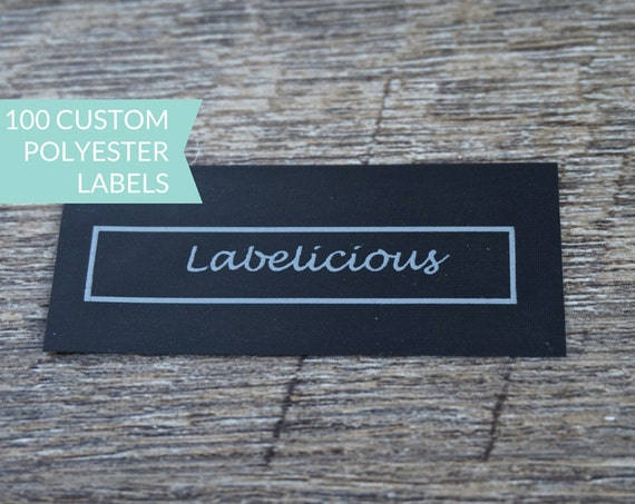 Qty 100 Custom Black Polyester Clothing Label By Labelicious