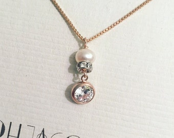 Rose Gold Pearl Drop CZ diamond necklace, rose gold filled pearl and rhinestone necklace