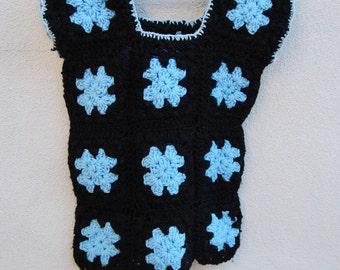 Vintage hippie crochet yarn top black sky blue sz s