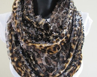 sequin scarf/brown gold sparkle scarf/leopard -tulle- evening gown scarf-infinity-shimmery-sequin-fabric-chiffon-circle scarf scarves2012