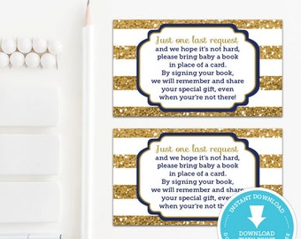Book Request Card - Navy and Gold Baby Shower - Baby Shower Games - baby shower printable - Boy Baby - Instant Download - insert card - DIY