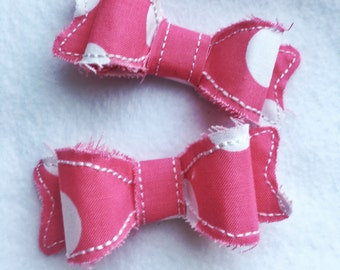 Adorable frayed hairbow clips, girl frayed hairbow, baby hairbow