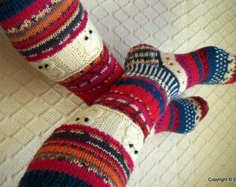 Winter tale -Long kneehigh Wool socks 'Talvisatu' Womens Girls hand knit Winter Big Warm Cosy Gift Handmade in FINLAND