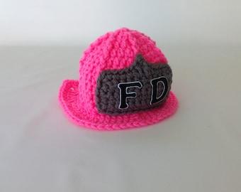 Baby Girl Firefighter Fireman Hat Helmet - Photography Prop - Crochet Firefighter Fireman Hat Helmet - Baby Shower Gift - Gender Reveal