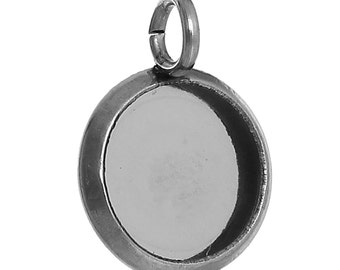 5pc Stainless Steel Silver Tone Round Cabochon Settings- Fits 8mm - 14x10mm- Jewelry Finding Making Supplies, Necklace, Ships from USA - S60