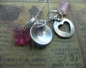 Hand stamped heart necklace, pendant, pink, swarovski