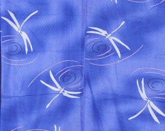 Women's Blue Summer Kimono - White Dragonflies (WKBL3-TC7 2316 BK)