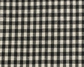 Cotton Fabric / Cotton Chambray / Black and White Check Fabric / Check Chambray Fabric / Dan River / Charleston Chambray / Chambray