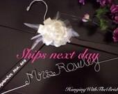 Ships next business day,Wedding hanger, custom wire hanger, bridal hanger, bride gift, bridesmaids gift, custom made hanger