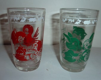 vintage swanky swig Kraft juice glasses set of 2