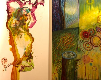 Tares Among the Wheat 2016 mythology XL original painting diptych oil acrylic