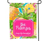 Personalized Garden Flag - Custom monogram Yard Flag Pineapple Welcome Sign