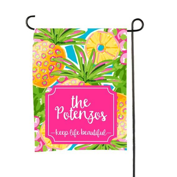 Personalized Garden Flag Custom monogram Yard Flag Pineapple