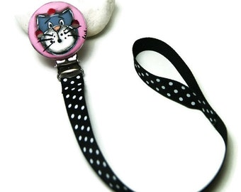 Pink clip pacifier with grey cat and attaching band - Pink cat for baby
