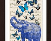 Blue Elephant with Blue Butterflies  print on upcycled Vintage 1920's Sheet Music Page mixedd media digital page ink animal
