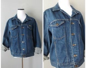 Denim Trucker Jacket Vintage Blue Jean Western Hipster Coats Mens Womens Size L Large 1980s Cotton Hippie Boho Button Down Grunge Jackets