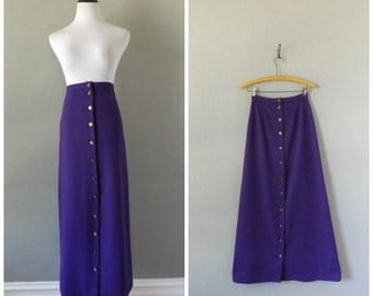 Ribbed Purple 70s Maxi Skirt Butterfly Buttons Vintage Hippie Boho A Line Skirt Size Small Medium Bohemian Dresses 1970s Hippy High Waisted