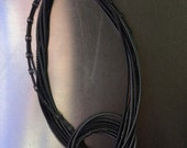 Piano Wire Necklace Black & Slate Mixed Texture Knot
