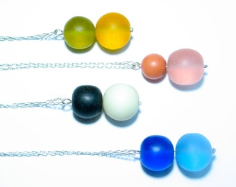 Resin bead necklace. Contemporary necklace. Rainbow. Modern jewelry. Colorful. Ball resin bead. Sterling silver necklace. Pastel