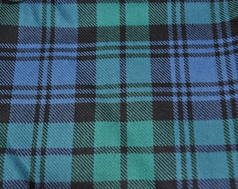 Black Watch Ancient / Campbell Ancient Tartan Fabric. 100% 10oz pure new wool. Large Remnant piece