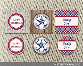 Favor Tags - Stickers - County Fair - Farm - Fall - Navy-Red Plaid-Patriotic- Rustic - Birthday - Instant Download - DIY Digital Decorations