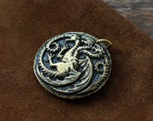 Stark and Targaryen, two sided coin pendant, Game of Thrones jewelry