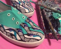 Turquoise African Print Shoes