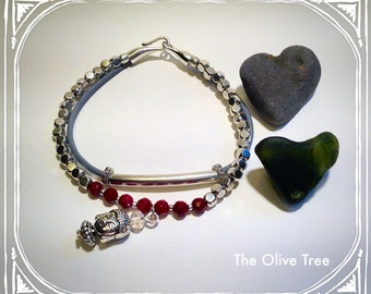 Brazil Faceted Red Ruby Gemstone, Grey Leather & Silver Bead with Buddha Charm Stacking Bracelet