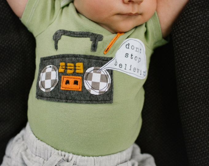 "Swanky Shank Hand Dyed ""Don't Stop Believin' Boom Box Bodysuit"