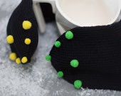 Black Knitted Wool Mittens with mini Green and Yellow pompoms for Winter Gift for Her Women Accessories europeanstreetteam