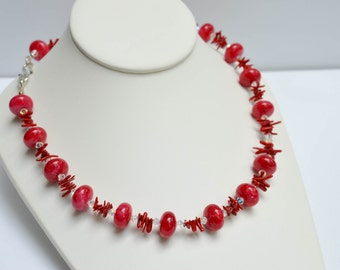 Red Jade, Coral Necklace, Swarovski Sterling Silver Gemstone Necklace, 19 inches