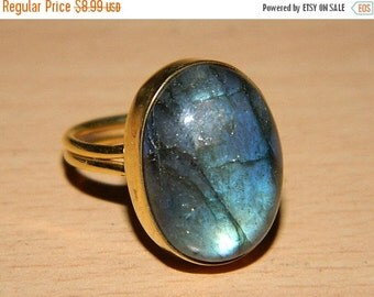 20 off. 925 Sterling Silver Labradorite Ring-Natural Blue Labrodarite and Gold plated-Top Quality Stone-Designer Jewelery-valentine Gift