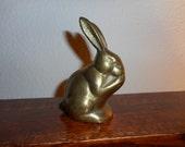 Rabbit, Brass, Figurine, Nibbling, Easter, Spring, Woodland, Vintage