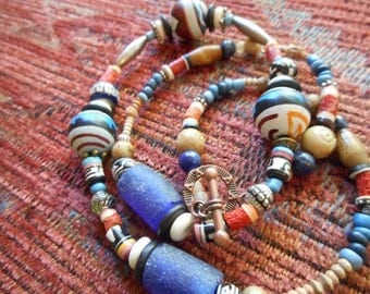 Necklace, Beaded, Native American Inspired, Handpainted, Sponge Coral, Sterling Bench Beads, Heishi Beads, Tribal, Rustic, African Trade