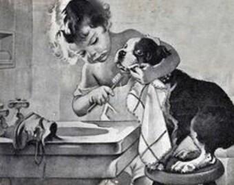 Vintage Girl Brushing Boston Terrier's Teeth Print Decoupaged on Wood Black and White