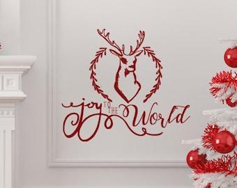 Joy to the World. Beautiful Christmas Vinyl Wall Decal.