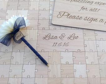 100 pieces Custom Wedding Puzzle Wedding Guest Book