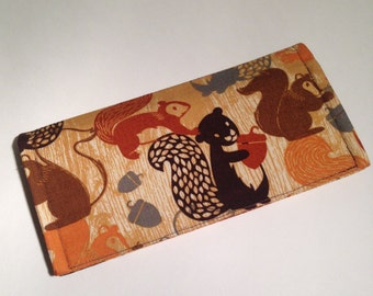 Fabric Checkbook Cover-Nutty Squirrels with Dark Brown Interior