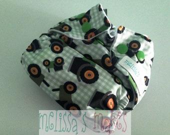 Tractors - Diaper - Newborn Cloth Diaper - Newborn Nappie - Baby Shower Gift - New Mom Gift - AIO Diaper - First Baby Gift - New Baby