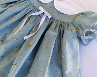 Blue floral Baby Dress, Vintage-inspired, classic infant dress & bloomers