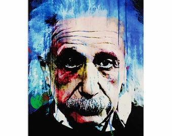 Pop Art 'Albert Einstein Questioning Tomorrow' by Artist Mark Lewis,Colorful Einstein Painting Limited Edition Giclee Print on Metal/Acrylic