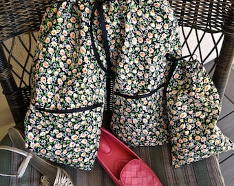 Shoe Pants Travel Bag, Separated Shoe Bag, Shoe Organization,  Travel Shoe Bag,  Field of Daisy's Lightweight Shoe Pants with Pockets
