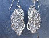 Silver Druzy Silver Wrapped Earrings